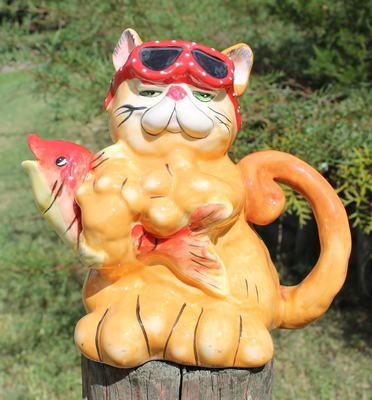 Marmalade Cat with Fish Teapot