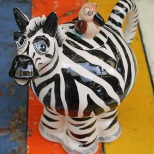 Zebra Teapot – with bird lid