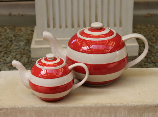 Cornishware Round 'Betty' Teapot - Small One Cup - Red