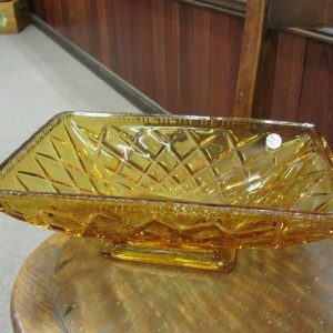 Amber Depression Glass Serving Dish