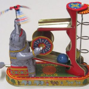 Elephant with ball game, 18cm tall