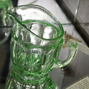 Depression Glass Jug – Green with ovals