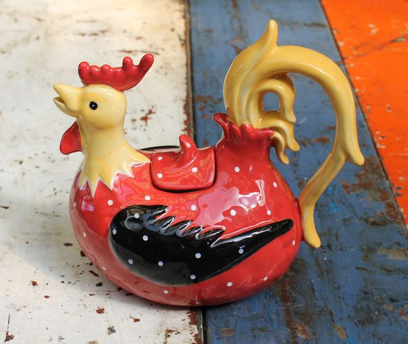 Rooster Red Teapot