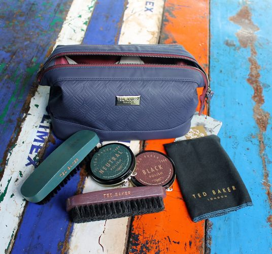 morpeth gift gallery hunter valley ted baker acceessory cadet blue shoe shine kit travel pouch toiletry bag