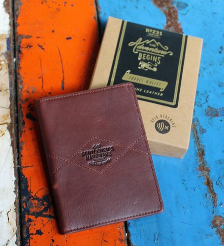 morpeth gift gallery hunter valley gentlemans hardware travel wallet passport document holder RFID blocking adventure begins