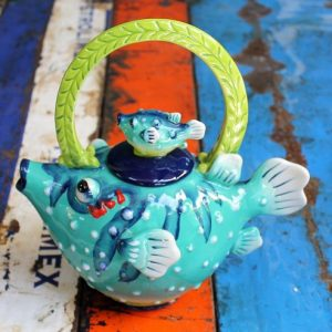 Teapot – Fish (Blue)