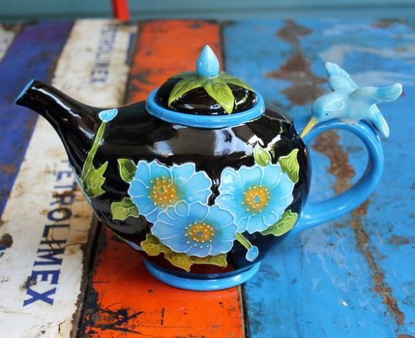 morpeth gift gallery hunter valley novelty teapot blue hummingbird hibiscus functional six cup collectable
