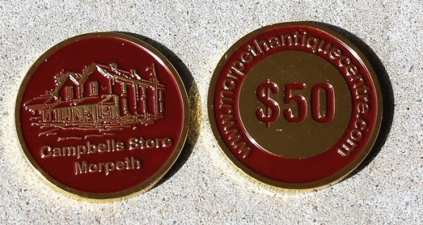 morpeth antique centre hunter valley gift medallion voucher certificate token fifty dollars