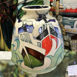 morpeth antique centre hunter valley walter william moorcroft homeward bound fishing boats vase english pottery ceramics
