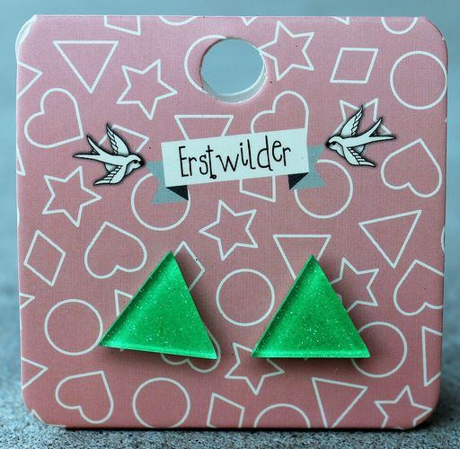 morpeth antique centre hunter valley erstwilder earrings stud green apple heart diamond triangle circle round sparkle glitter solid colour retro fashion accessory essentials