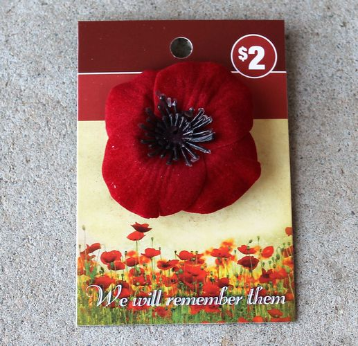 morpeth gift gallery antique centre hunter valley red poppy pin brooch remembrance day november 11th WWI WWII world war one two ANZAC