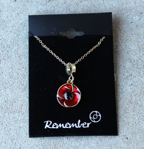 morpeth gift gallery antique centre hunter valley red poppy necklace pendant remembrance WWI WWII world war one two ANZAC
