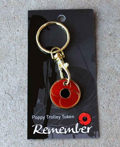 morpeth gift gallery antique centre hunter valley red poppy key chain trolley token remembrance WWI WWII world war one two ANZAC