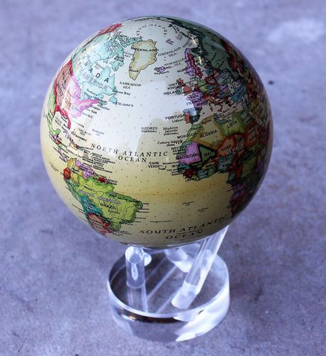 morpeth gift gallery hunter valley spinning rotating globe of the world perspex stand solar magnetised light spins in your hand like magic