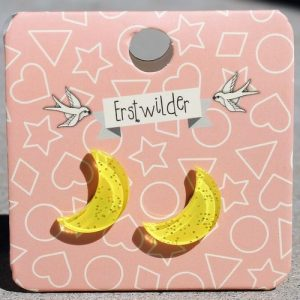 Erstwilder Earrings – Crescent Moon Yellow Sparkle