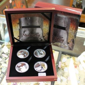 morpeth antique centre hunter valley mandscoinsandbanknotes Australian Outlaw Bushranger silver proof coin set one dollar 2010 ned kelly