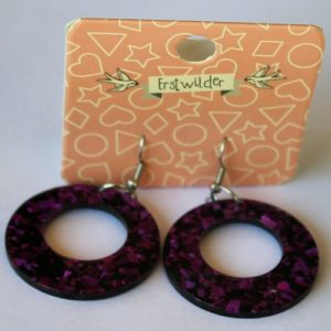 Erstwilder Drop Earrings – Circle Glitter Purple