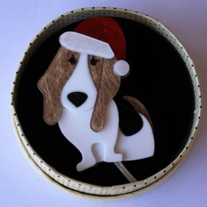 Erstwilder Brooch – Barney's First Christmas (Dog)