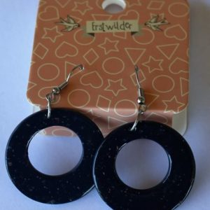 Erstwilder Drop Earrings – Circle Sparkle Midnight Blue