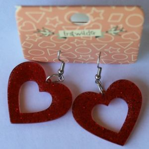 Erstwilder Drop Earrings – Heart Sparkle Red
