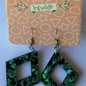 Erstwilder Drop Earrings – Diamond Glitter Aqua