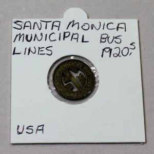Santa Monica Municipal Bus Lines 1 Zone Fare Token