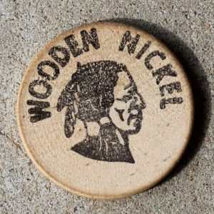 Wooden Nickel Sales Tax Token from 'The Dime Store', Sisters, Oregon