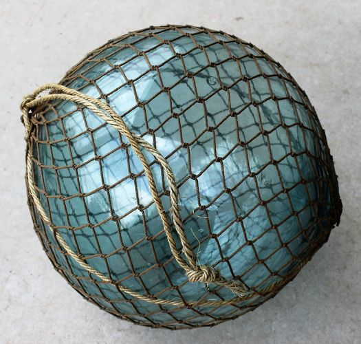 morpeth antique centre hunter valley fishing float in net brown aqua blue japan hokkaido region province 1950's recycled sake bottle