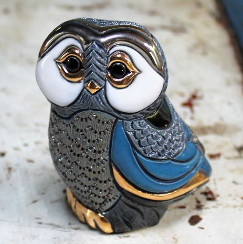 morpeth gift gallery hunter valley rinconada figurine de rosa uraguay pottery ceramic enamel gold gilded owl blue grey adult baby mini collectable