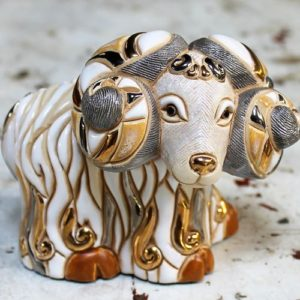 morpeth gift gallery hunter valley rinconada figurine de rosa uraguay pottery ceramic enamel gold gilded sheep ram adult baby mini collectable