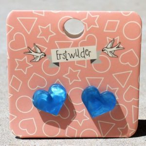 Erstwilder Earrings – Heart Studs Sky Blue