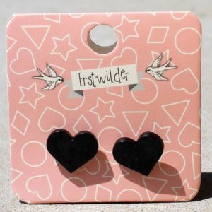 Erstwilder Earrings – Heart Studs Black