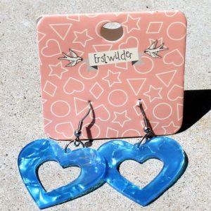 Erstwilder Earrings – Heart Drop Sky Blue