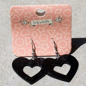 Erstwilder Earrings – Heart Drop Black