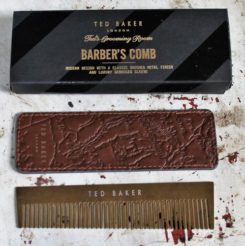 morpeth gift gallery hunter valley ted baker london fashion accessory grooming room shaving barber's beard comb and sleeve pouch brushed metal