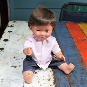 Down Syndrome Boy Doll – Brown Hair -New