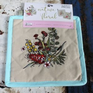morpeth gift gallery hunter valley linen press native floral single pot holder organic cotton australian wild flower flora fauna flannel flower grevillia boronia gum eucalypt blossom tea tree