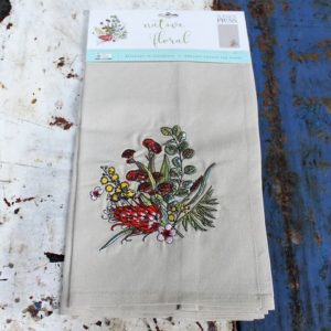 morpeth gift gallery hunter valley linen press native floral single tea towel embroidered organic cotton australian wild flower flora fauna flannel flower grevillia boronia gum eucalypt blossom tea tree