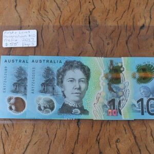 Australian First & Last Prefix Ten Dollar Note Pair
