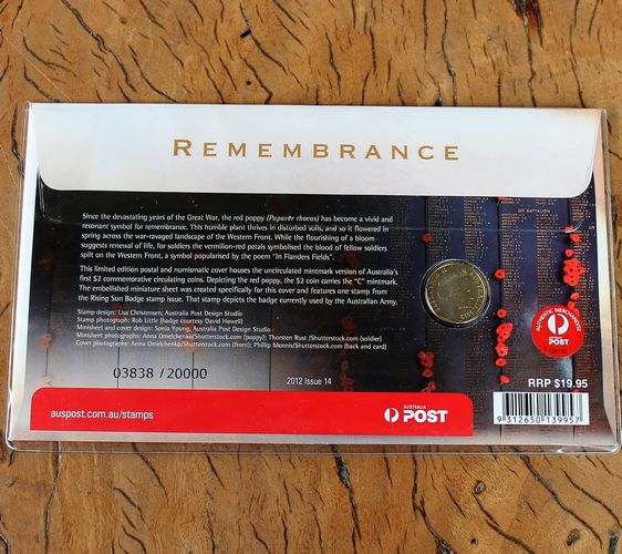 morpeth antique centre hunter valley coins banknotes remembrance two poppy red ANZAC dollar coin currency australian decimal pre old new mint royal
