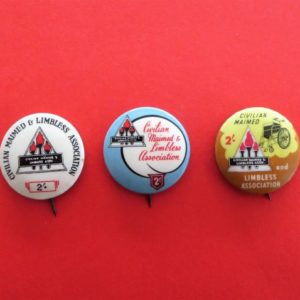 Maimed & Limbless Charity Badge Trio