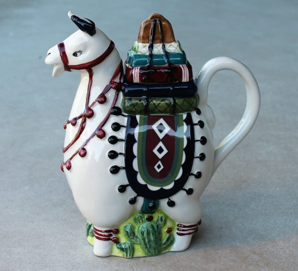 morpeth gift gallery hunter valley novelty teapot blue sky llama alpaca ceramic hand painted cacti peru