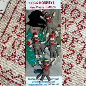Sock Monkey Buttons x 4