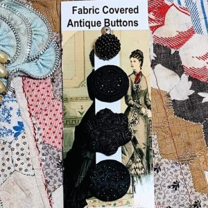 Fabric/thread Covered Vintage Buttons x 4 black