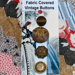 Fabric/Thread Covered Vintage Buttons x 4 Beige