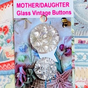 Mother/Daughter Glass Buttons x 2