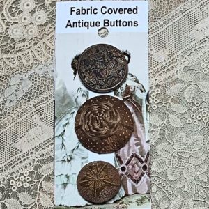 Fabric/Thread Covered Antique Buttons – brown x 3