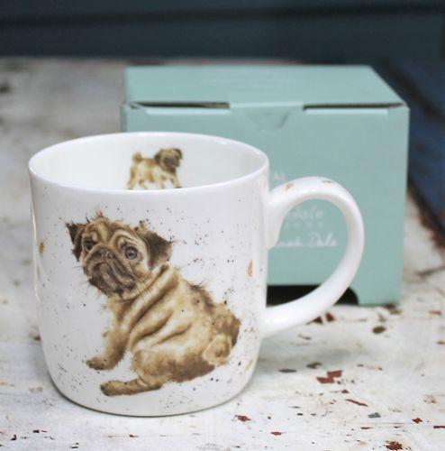 morpeth gift gallery hunter valley pug love dog wrendale royal worcester fine bone china mug coffee tea hot chocolate .31 litre 11 oz ounce