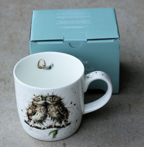 morpeth gift gallery hunter valley birds of a feather owl wrendale royal worcester fine bone china mug coffee tea hot chocolate .31 litre 11 oz ounce