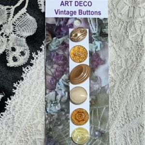 Art Deco Vintage Glass Buttons – Honey/Beige